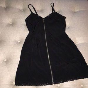 H&M black silky zip up dress